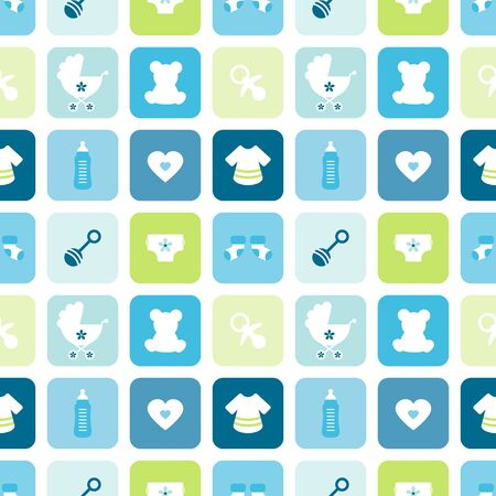 Seamless Pattern Baby Icons Boy Squares Blue And Green 向量圖像