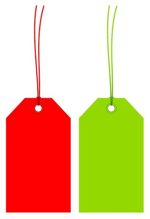 Set Of Two Angled Colorful Hangtags With Matching Strings Illustration