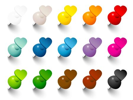 Set Heart Pins With Shadow In Fifteen Colors