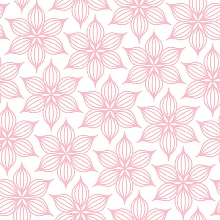 Seamless Pattern Big Flowers Line Pink And White