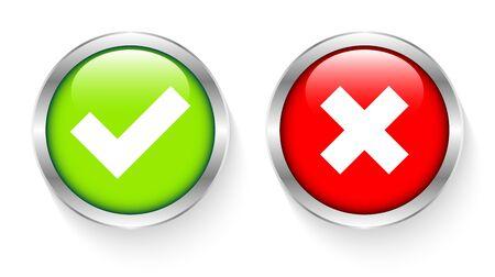 Conjunto de dos botones enmarcados plateados con marcas de verificación rojo y verde