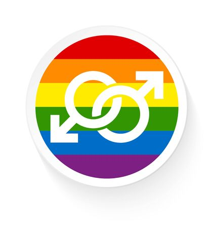 Button Rainbow Flag Two Connected Male Gay Icons Illustration