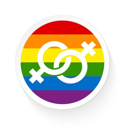 Button Rainbow Flag Two Connected Female Gay Icons