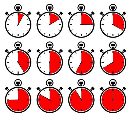 Set Of Twelve Graphic Stopwatches Red Different Times