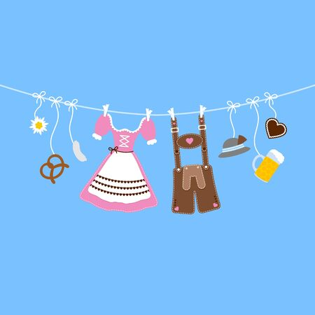 Horizontal Hanging Oktoberfest Icons Bow Pink And Brown Background Blue