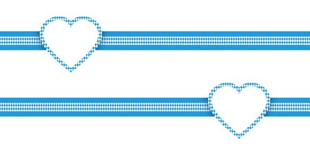 Two Horizontal Ribbons Hearts Oktoberfest Diamond Pattern