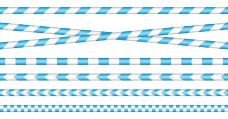 Set Of Barrier Tapes Blue And White