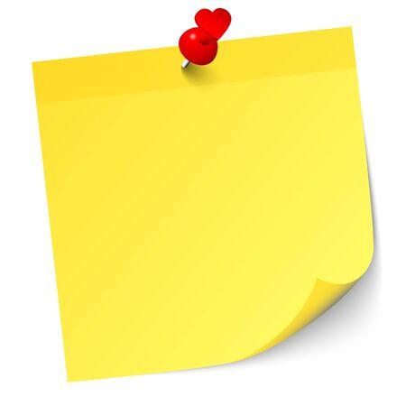 Einzelne gelbe Haftnotiz mit rotem Herz-Pin und Schatten