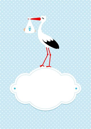 Vertical Baby Boy Card Stork On Cloud Dots Background Blue