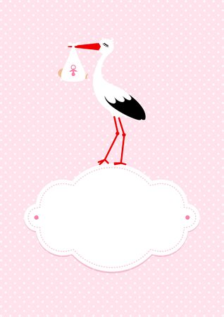 Vertical Baby Girl Card Stork On Cloud Dots Pink Background Illustration