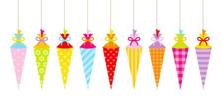 Banner With Straight Hanging Colorful School Cornets Pattern