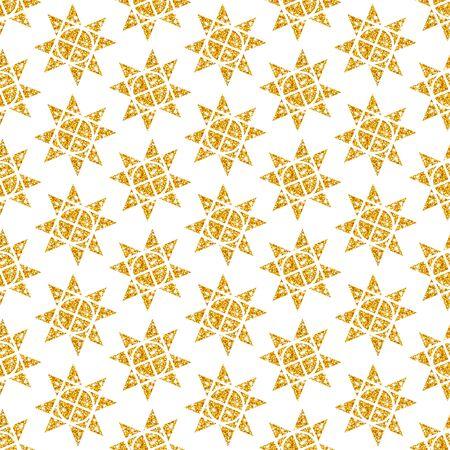 Seamless Pattern Big Golden Christmas Stars Glitter