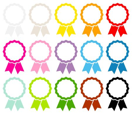 Set Of Fifteen Colorful Graphic Medals Frame With Ribbon 向量圖像