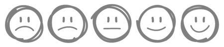 Set Of Five Handdrawn Outline Faces Different Moods Gray Illustration