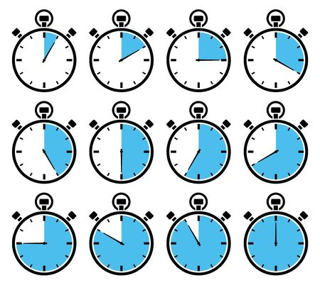 Set Of Twelve Graphic Stopwatches Blue Different Times  イラスト・ベクター素材