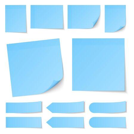 Ensemble de différentes notes collantes bleues avec ombre Vecteurs