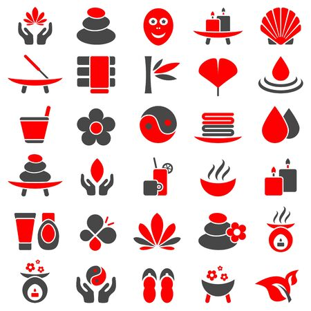 Set Of Thirty Wellness Icons Red And Gray Illustration