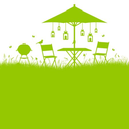Square Background Summer Garden Barbecue Silhouette Green
