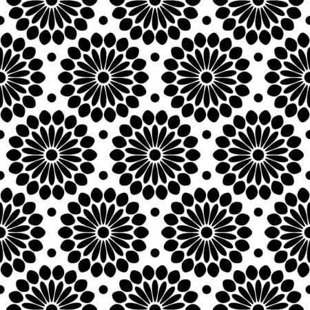 Seamless Pattern Large Abstract Flowers Black And White Ilustração