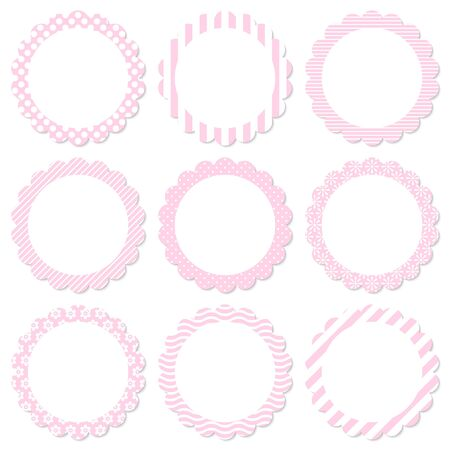 Set Of Floral Different Color Pink And White Stickers 矢量图像