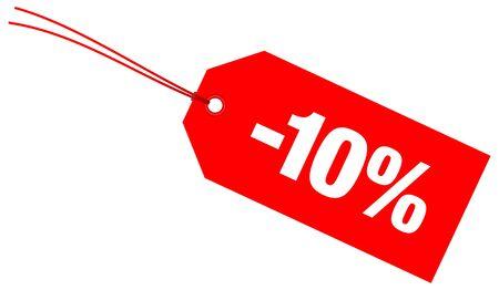 Single Red Diagonal Label Minus Ten Percent