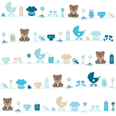 Seamless Pattern Baby Boy Teddy Blue And Beige