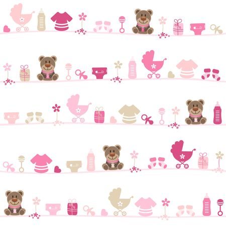Seamless Pattern Baby Girl Teddy Pink And Beige