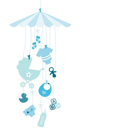 Hanging Baby Mobile With Icons Boy Blue Illusztráció