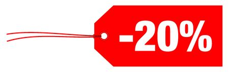 Single Red Horizontal Label Minus Twenty Percent