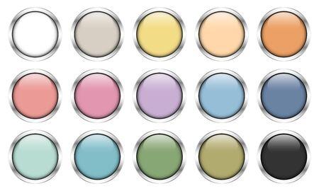 Conjunto de quince botones plateados brillantes colores retro Ilustración de vector