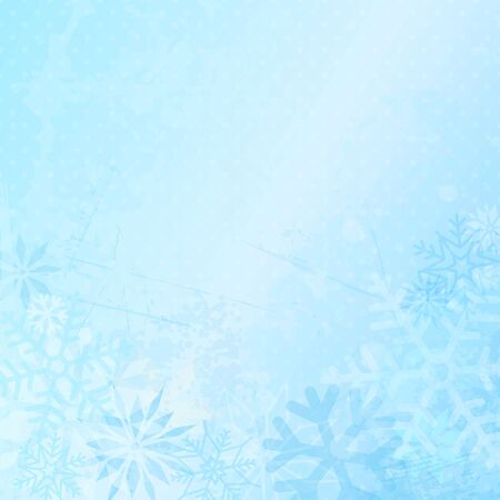 Square Winter Background With Snowflakes And Dots Blue