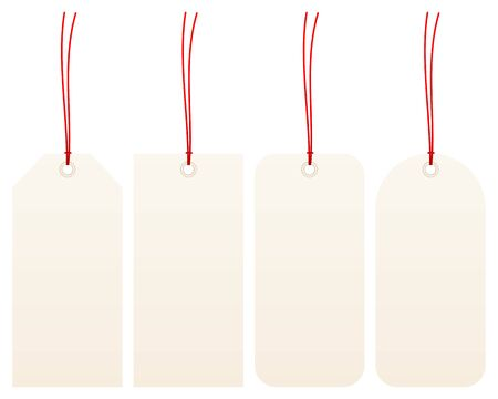 Set Of Four Narrow Beige Hangtags With Red Strings Illustration