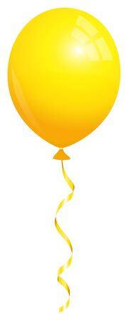 Single Isolated Yellow Balloon Flying With Matching String  イラスト・ベクター素材