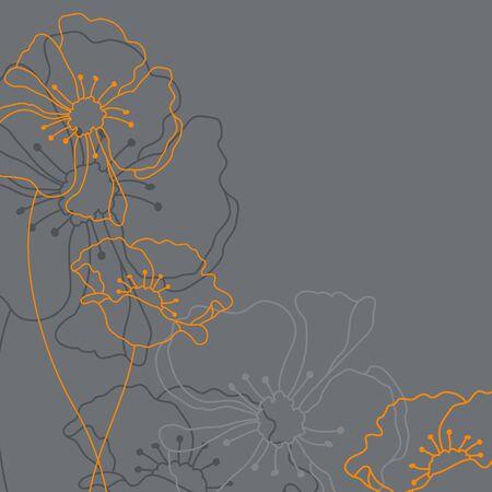 Quadratische Trauerkarte mit grauen und orangen Blumen