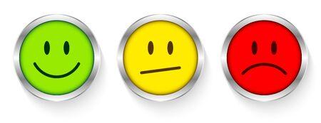 Three Buttons Faces Mood Color Silver Frame Diagonal Mouth Vetores