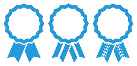 Set Of Three Graphic Oktoberfest Award Badges Frame Blue