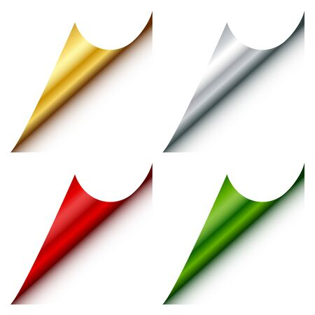 Set Of Four Web Corners Angled Gold Silver Red Green Blow Right