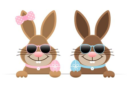 Easter Bunnies Boy And Girl Holding Egg Sunglasses Horizontal