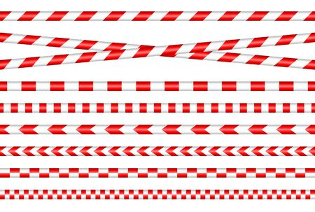 Set Of Different Barrier Tapes Red And White