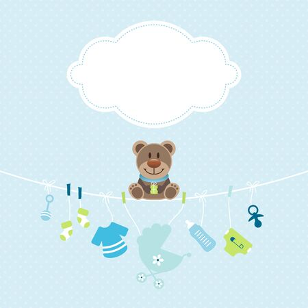 Teddy Hanging Baby Icons Boy Cloud Dots Blue And Green Ilustracja