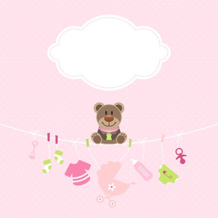 Teddy Hanging Baby Girl Icons Cloud Dots Pink And Green