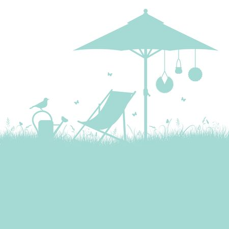 Garden Silhouette Deck Chair And Umbrella Turquoise