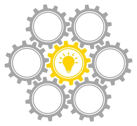 Group Of Seven Graphic Gears Idea Middle Gray And Yellow Archivio Fotografico - 127806145