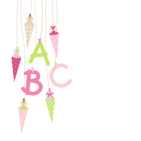 Left Hanging School Cornet Girl And ABC Letters Pink Green