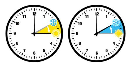 Two Black Clocks Summer Time And Winter Time Little Icons And Numbers
