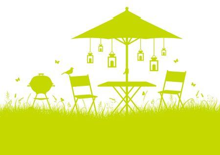 Summer Garden Barbecue Silhouette Horizontal Background Light Green