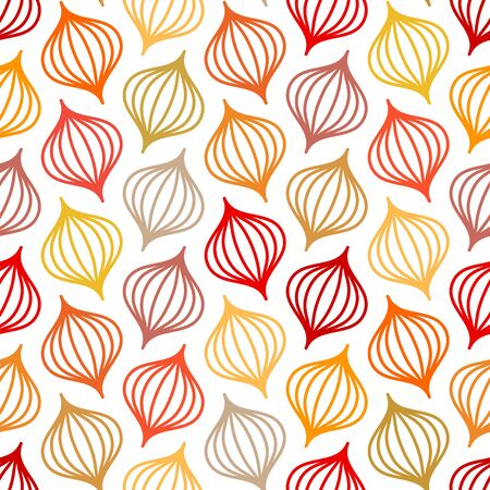 Seamless Pattern Abstract Onions Lines Autumn Colors Ilustração