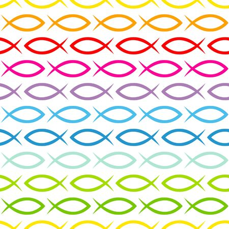Seamless Pattern Abstract Graphic Fishes Rainbow Colors