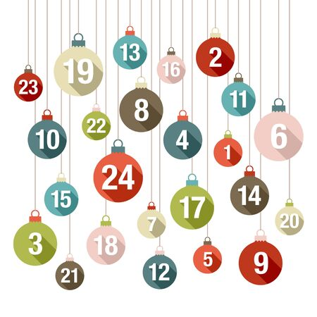 Square Advent Calendar Christmas Balls Retro Colors Flat Design
