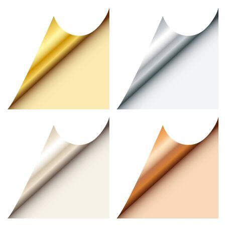 Zestaw czterech narożników internetowych Kątowe złoto Srebro Platynowy brąz poniżej prawej strony